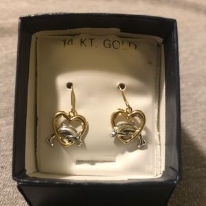 14 KT Gold Two-Tone Dolphin Earrings NEVER WORN